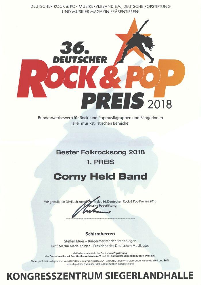 Deutscher Rock und Pop Preis 2018